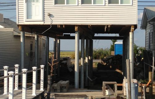 Stone Harbor, New Jersey home lifted with helical piles