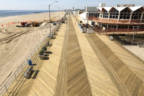 Helical piles for boardwalks and walkways.