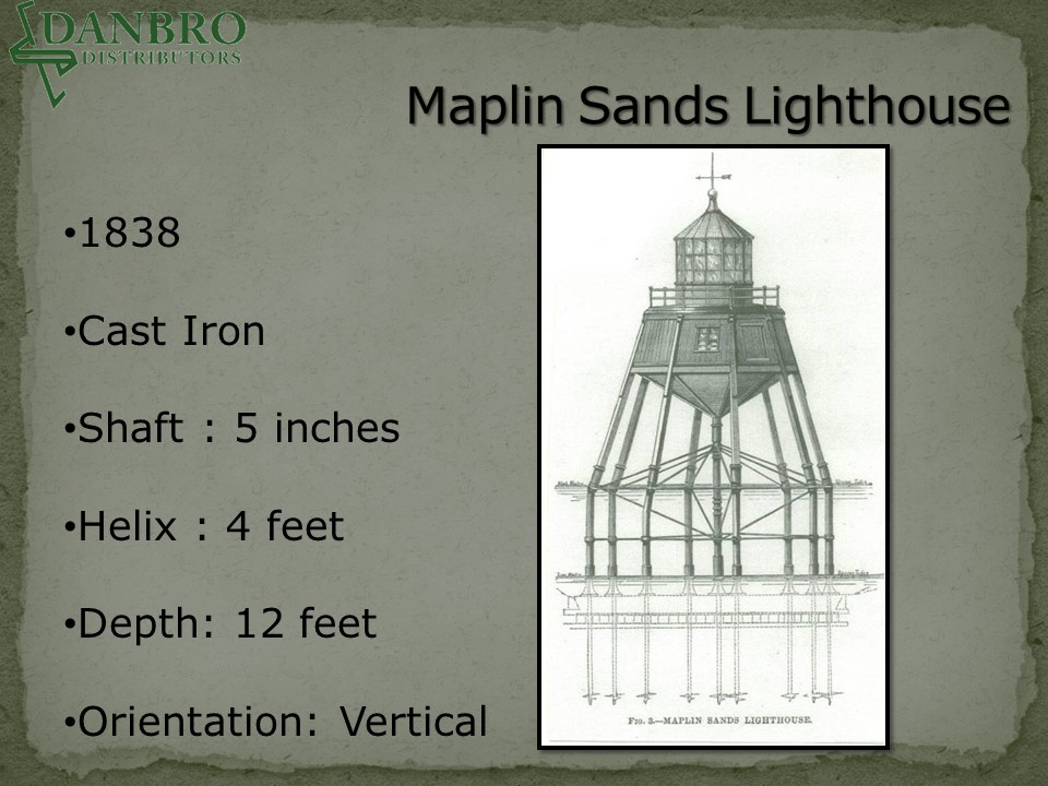 Maplin Sands Lighthouse with helical pile illustration